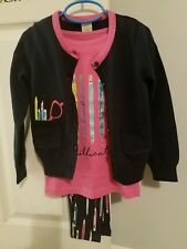 NWT Gymboree 5-6 BRILLIANT Top, cardigan, and Pencil Print Leggings Outfit
