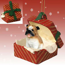 BULLDOG DOG CHRISTMAS GIFT BOX ORNAMENT HOLIDAY Present XMAS PET