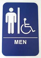 MEN Handicap Blue Sign ADA Compliant  w/Braille Public Accommodation Facilities