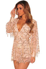 Abito tuta nudo scollo Trasparente Pailettes Ballo Party Sequin Romper dress M