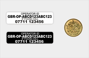 10x Operator ID & Phone No. stickers - drone, CAA Regulatory Labels,  Laminated