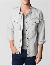 True Religion XL Jacket Mens Gray Poplin Full Zip Button Front Cotton MQDA427EG