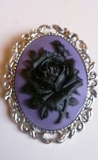 Black Gothic Rose Brooch Medieval Pin Black Rose Cameo Wedding