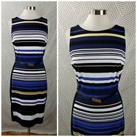 White House Black Market size 10 Stripe Dress WHBM Belted Career sheath stretch