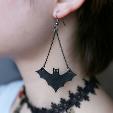 1 Pair Vintage Black Bat Shaped Chain Gothic Halloween Earrings Jewelry Punk