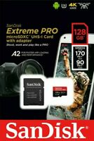 128GB SD CARD SanDisk Extreme Pro MicroSD SDXC Memory with Adapter - GoPro 4K