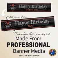 50th Birthday Customised CanvasFABRIC Banner Party Decorations Supplies Vintage