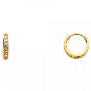 Small Huggies Round Simulated Diamonds 2mm Dainty Hoop 14k Yellow Gold Earrings