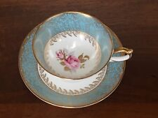 Aynsley GREEN & GOLD LEAF & FLORAL Footed Cup & Saucer Set ~ England