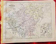 Old Map 1900 France Département Corrèze Tulle St Privat Ussel Brive Uzerche