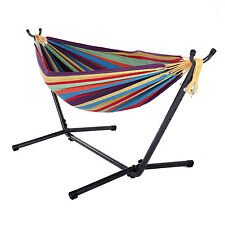 Double Hammock With Space Saving Steel Stand Includes Portable Carrying Bag New