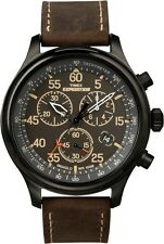 "Timex T49905, Men's ""Expedition"" Leather Indiglo Watch, Chronograph, T499059J"