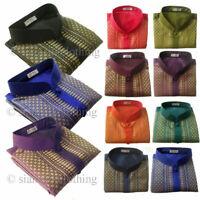 Mens Thai Silk Shirt Short Sleeve Deluxe Mandarin Band Collar Size S M L XL 2XL