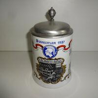 Bierkrug Porzellan 0,5 l Staedtler 1987 mit Zinndeckel