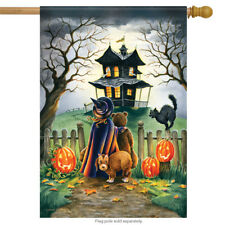 "Maybe Not Halloween House Flag Witch Pumpkin Cat Dog Haunted House 28"" x 40"""