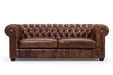 Chesterfield Sofa Couch 3 Sitz Polster Garnitur Ledersofa Old Style Vollleder
