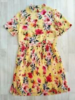 Papaya Matalan Size 12 Yellow Dress Floral Pleated Autumn Retro Vintage Style