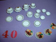 "1/12"" DOLL HOUSE FURNITURE CHINA DINNER SET AND 4 X ROAST BEEF DINNERS HANDMADE"