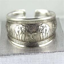 Details about  Classical Unique elephant Tibet Silver bangle Cuff Bracelet #2055