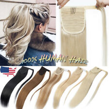 120g Blonde Black Ponytail Wrap Aound Clip In Real Human Hair Extensions US K73