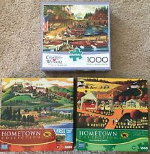 Lot 3 Jigsaw 1000 Piece Puzzles- Hometown Collection & Charles Wysocki Buffalo