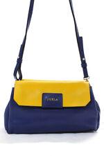 Furla Women's Snap Closure Crossbody Handbag Leather Blue Yellow Size Medium