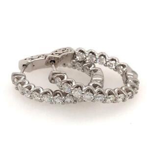 3.00 TCW Round Diamonds Inside Outside Oval Hoop Earrings In 14k White Gold