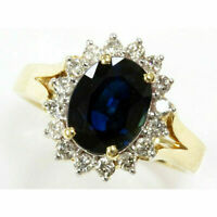 3Ct Oval Cut Blue Sapphire & Diamond Halo Engagement Ring 14K Yellow Gold Over