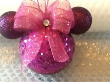 MINNIE MOUSE INSPIRED EARS DARK PINK & PLUM GLITTERY  CHRISTMAS BAUBLE