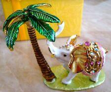 Qifu White Elephant Jewelled & Enamelled Trinket Box / Figurine