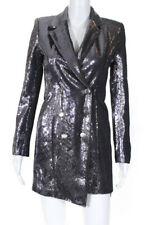 Retrofete Womens Sequined Selena Jacket Dress Gunmetal Gray Size Extra Small
