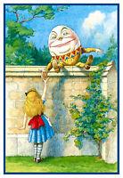 Tenniel's Humpty Dumpty Alice in Wonderland Counted Cross Stitch Chart Pattern