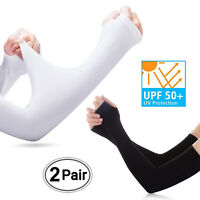 2-Pair Cooling Arm Sleeves Cover UV Sun Protection Basketball Sport White Black