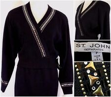 NWT ST. JOHN Womens Petite/P Black GOLD/RHINESTONE Wool SANTANA KNIT Jacket USA