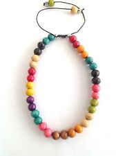 wooden beaded drawstring necklace Multi coloured chakra rainbow