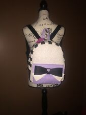 Betsey Johnson BE MINE BACKPACK Quilted Roses, PURPLE TRIM ,BOW, STRIPES. NWT