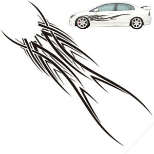 """100"""" inch Racing Car Body Fender Curve Line Sticker Graphic Flame Decal Black 2x"""