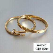 Men Women 18k Gold Plated Stainless Steel Love Screwdriver Bangle Bracelet Set