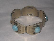 Vintage TAXCO MEXICO Sterling Link Bracelet Turquoise Art Glass Cabochons