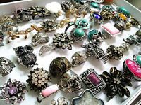 wholesale bulk lot 50pcs mix styles metal alloy jewelry rings with a display box