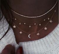 Women Fashion Moon Star Pendant Necklace Crystal Chain Statement Choker Collar