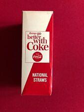 """1960's, Coca-Cola, """"Un-Used"""" Box of Paper Drinking Straws (500) Scarce"""