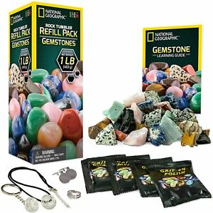 GEOGRAPHIC Rock Tumbler Refill Kit - Gemstone Mix of 9 varieties including Tiger