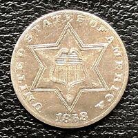 1858 Three Cent Piece Silver Trime 3c High Grade AU #18447