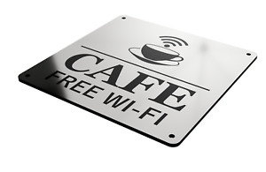 Cafe Free Wi-Fi Sign in A Choice of Colours, Large 145 mm Size