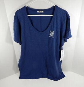 New Womens Ladies New York Rangers Logo Blue V-Neck T-Shirt 47 Brand 2XL NWT