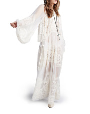 NEW Free People Embroidered Silk Bohemian Winds Maxi Dress Wedding White Sz XS/S