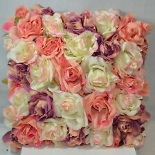 Gorgeous Pink Satin Fabric Pink White Purple Roses Square Decorative Pillow