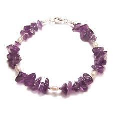 Sterling silver bracelet Amethyst chip and pearl gemstone gem stone reiki pagan