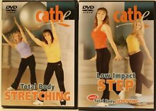 2 Cathe Friedrich workout Dvd lot Total Body Stretching Low Impact Step aerobics